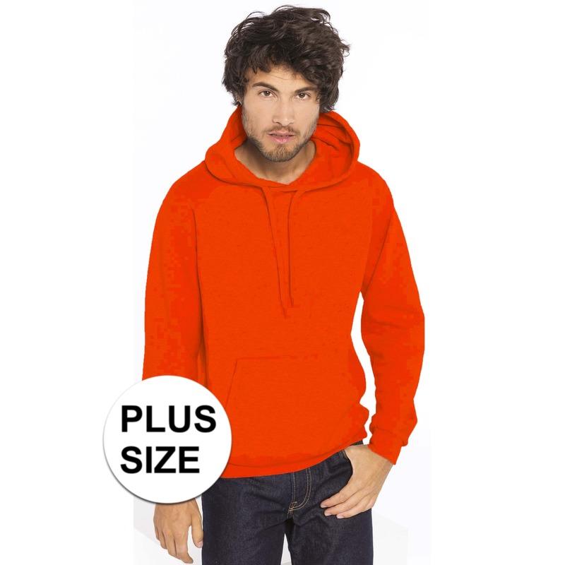 617126ad181 Grote maten oranje sweater/trui hoodie voor heren | Oranje grote ...