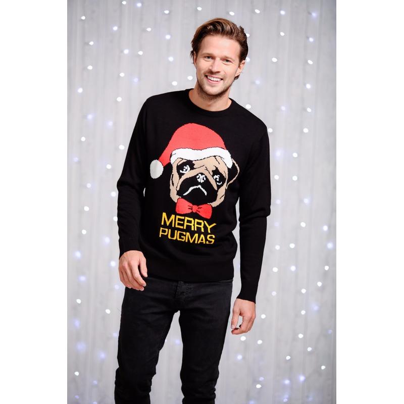 Kersttrui Mopshond.Heren Kersttrui Zwart Met Mopshond Kersttruien Heren Grote Maten