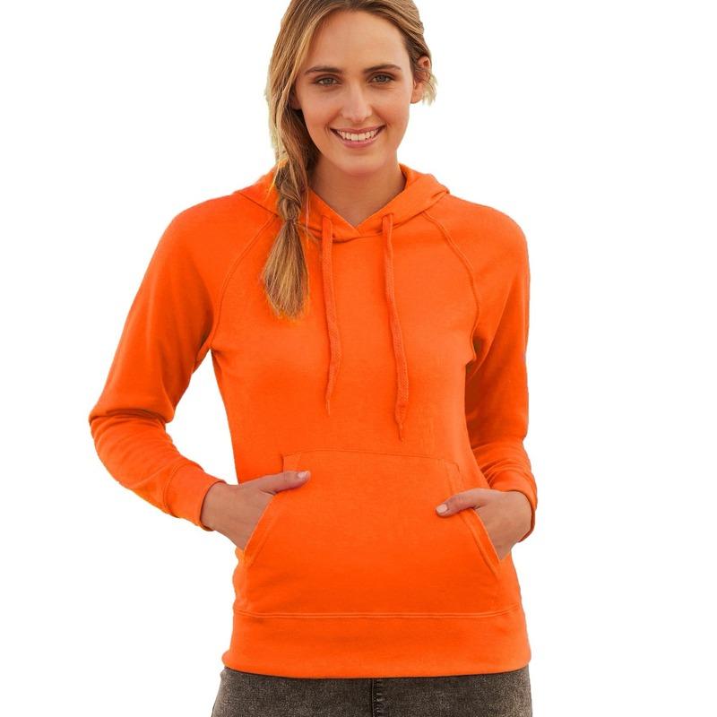 69107d34cc8 Oranje sweater/hoodie met capuchon voor dames | Oranje dameskleding ...