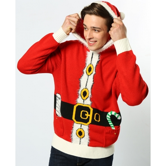 Rode Kersttrui Heren.Rode Hooded Kersttrui Kerst Truien Heren Grote Maten Shop