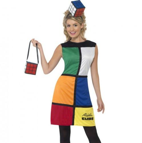 Carnavalskleding Grote Maten Dames.Rubiks Kubus Jurk Met Hoed En Tas Carnavalskleding Dames Grote